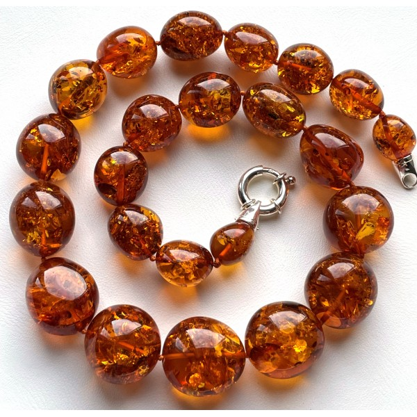 Big Baltic Amber Beads Necklace 83 g. -