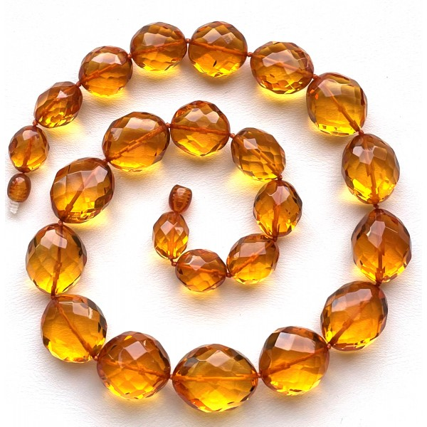 Big beads faceted amber necklace 57 g -