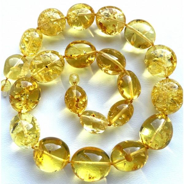 Big Beads Lemon Amber Necklace 70g. -