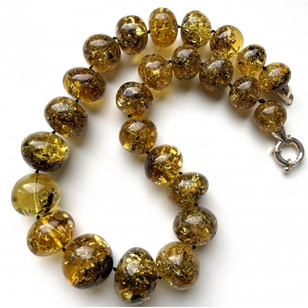 Green Baltic Amber Baroque Beads Necklace 101 g -