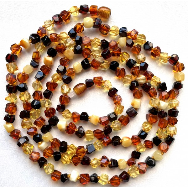 Long beaded necklace from faceted Baltic amber 130cm -