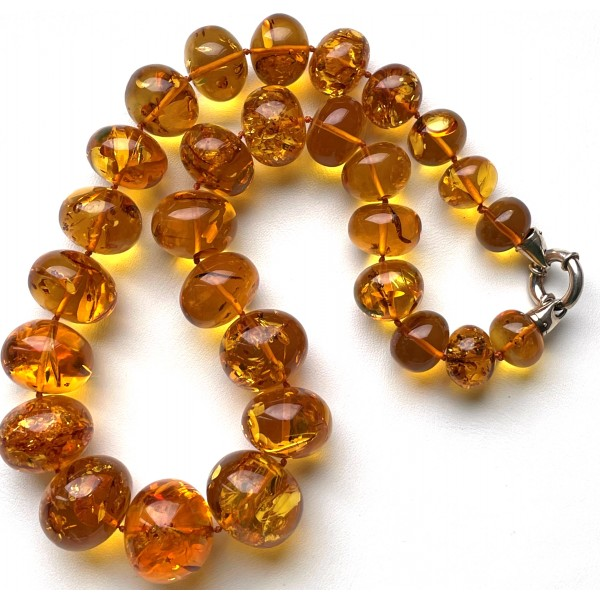 Massive baroque beads Baltic amber necklace 107 g -