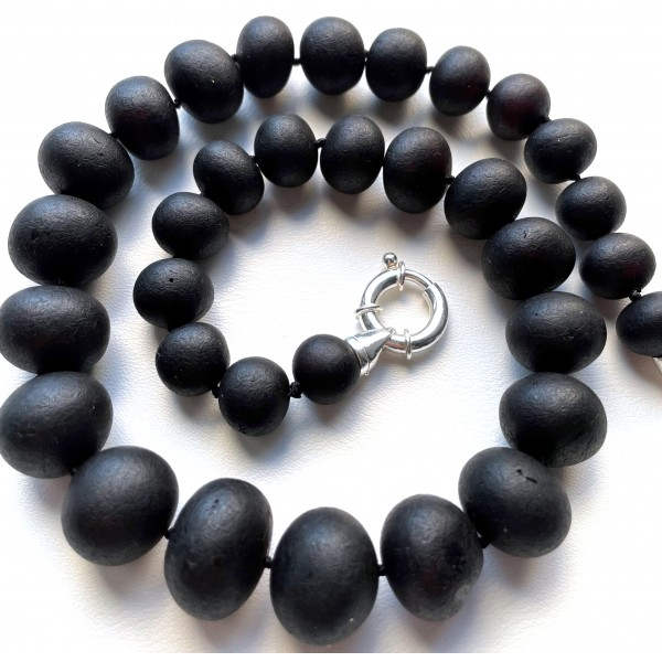Natural Baltic Amber black unpolished baroque beads necklace -