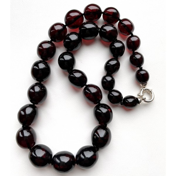 Natural Cherry Amber Olive Beads Necklace 54g -