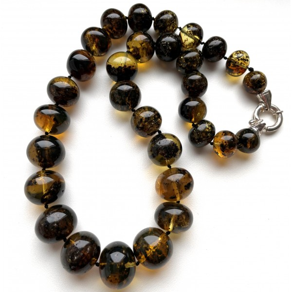 Natural Plant Amber Necklace Baroque Beads 67g -