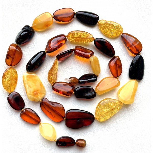 Natural shape long amber necklace -
