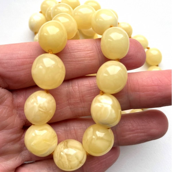 Natural Yellow - White Amber Olive shape Necklace -