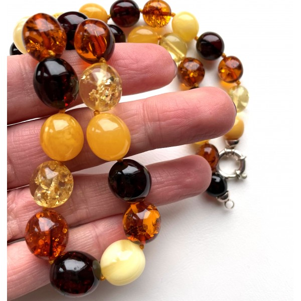Olive Shape Beads Genuine BALTIC AMBER Necklace 36g -