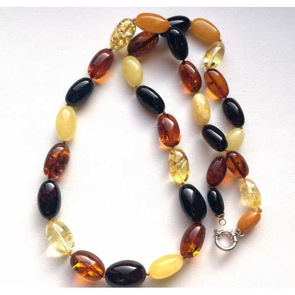 Olive Shape Beads Genuine BALTIC AMBER Necklace 50g -