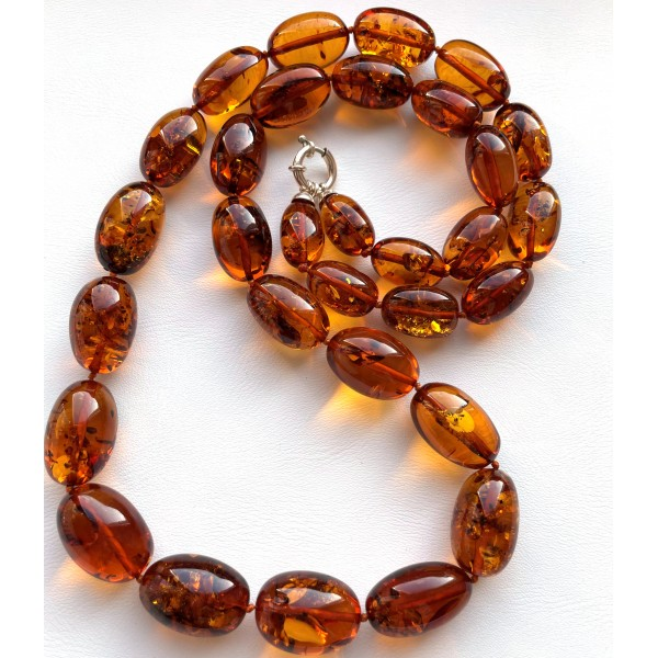 Olive Shape Beads Genuine BALTIC AMBER Necklace 70 g. -