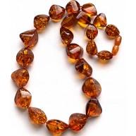 Short faceted cognac amber necklace