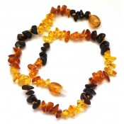 Multicolor Baltic amber chip teething necklace