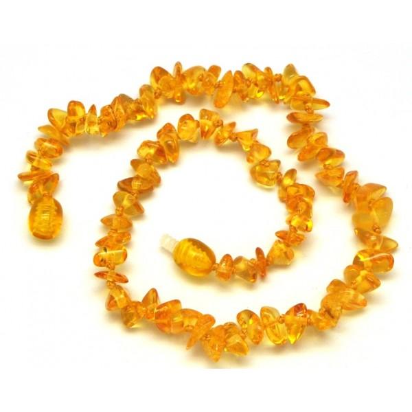 Lemon Baltic amber chip teething necklace-ATN497