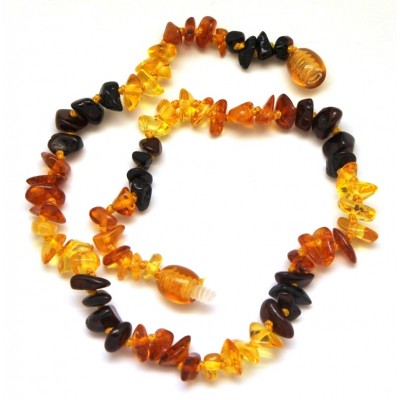 Multicolor Baltic amber chip teething necklace-ATN496
