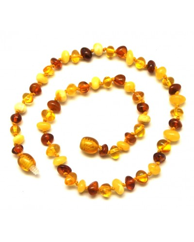 Multicolor Baltic amber teething necklace