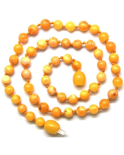 Antique unpolished round beads Baltic amber teething necklace