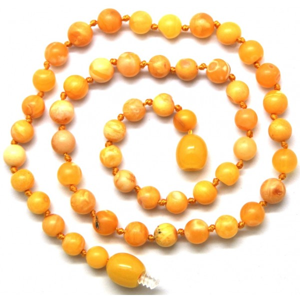 Amber teething necklaces | Antique unpolished round beads Baltic amber teething necklace