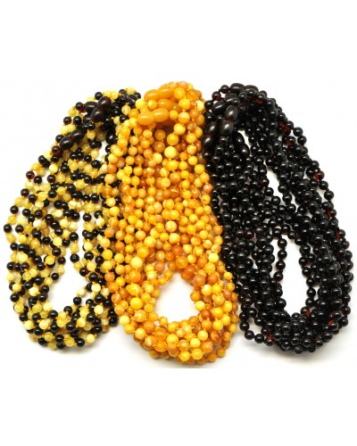 Lot of 30 Round beads Baltic amber teething necklaces