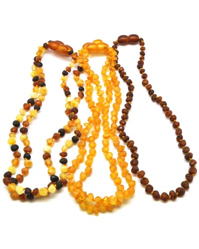 Lot of 5 raw baroque beads Baltic amber teething necklaces