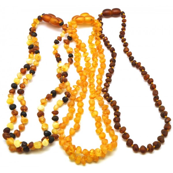 Amber teething necklaces | Lot of 5 raw baroque beads Baltic amber teething necklaces