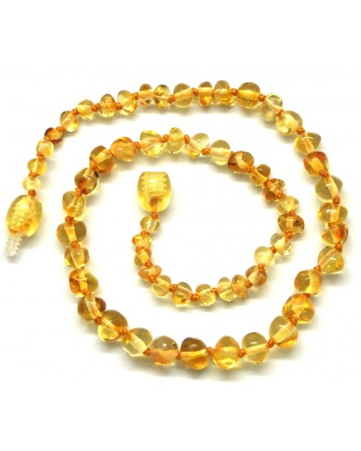 Lemon baroque beads Baltic amber teething necklace