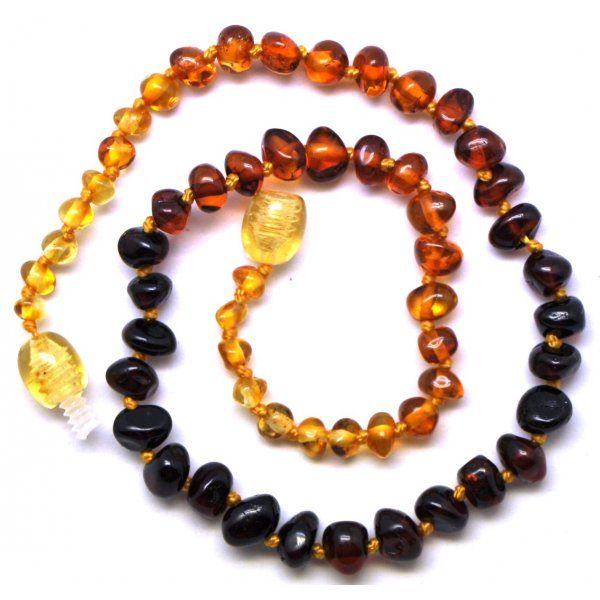Rainbow baroque beads Baltic amber teething necklace-ATN643