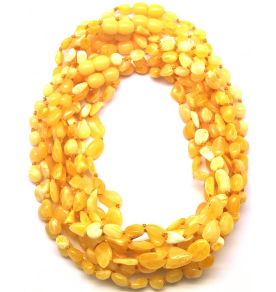 Lot of 10 natural beans shape Baltic amber teething necklaces