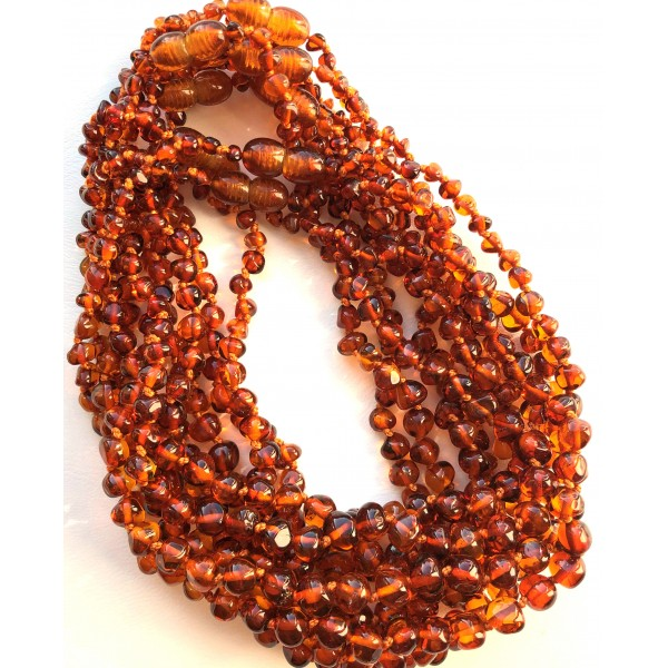 Lot of 10 Baby Children Genuine BALTIC AMBER Baroque Necklaces-ATN707