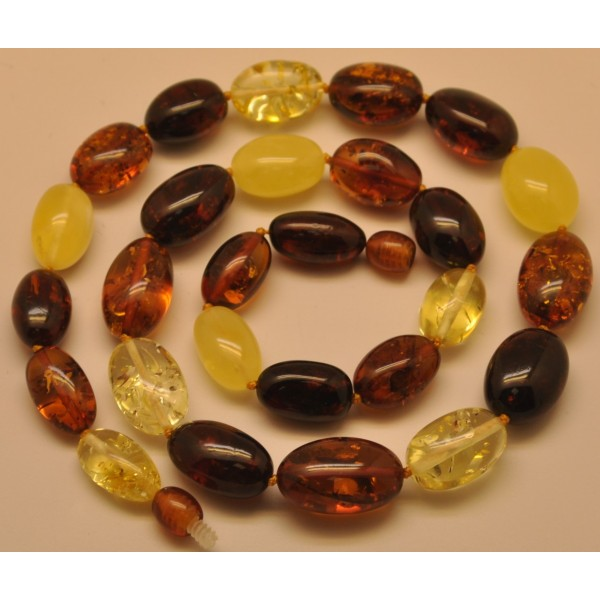 Olive Garden With Amberstone: Multicolor Olive Shape Baltic Amber Necklace From Online