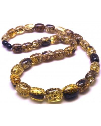 Barrel shape green Baltic amber necklace