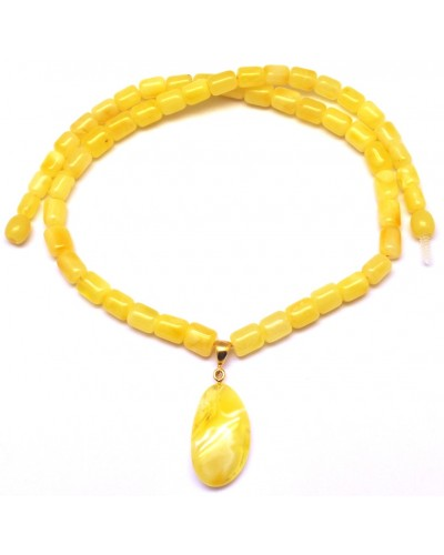Yellow barrel shape Baltic amber necklace with pendant