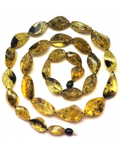 Long faceted  green Baltic amber necklace