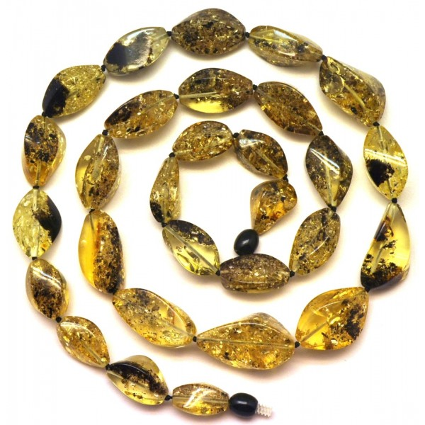Amber necklaces | Long faceted green Baltic amber necklace