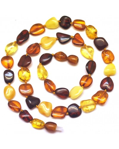 Short multicolor bean shape Baltic amber necklace