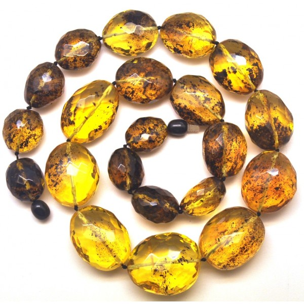 Amber necklaces | Big beads faceted Baltic amber necklace