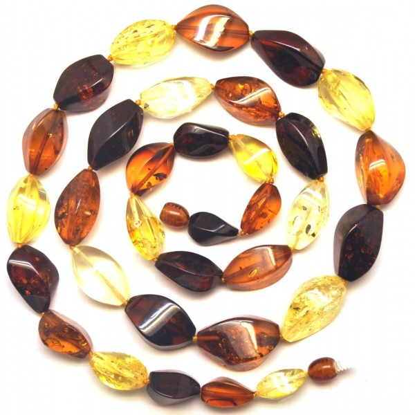 Amber necklaces | Multicolour faceted Baltic amber long necklace