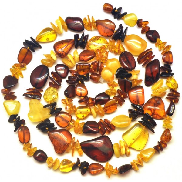 Amber necklaces | Multicolor long Baltic amber necklace