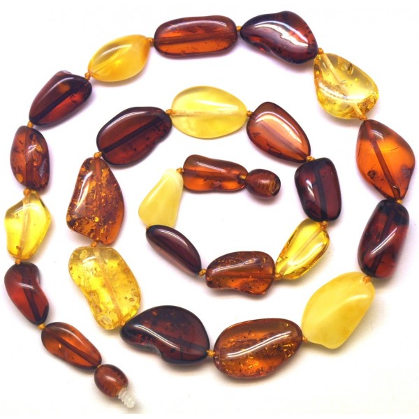 Short bean shape Baltic amber necklace