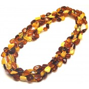 Lot of 5 multicolor Baltic amber beans necklaces