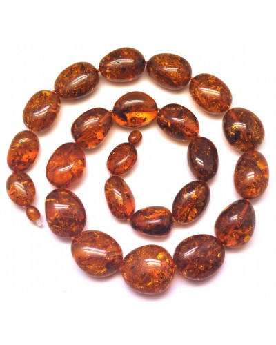 Cognac color amber beads necklace 100g