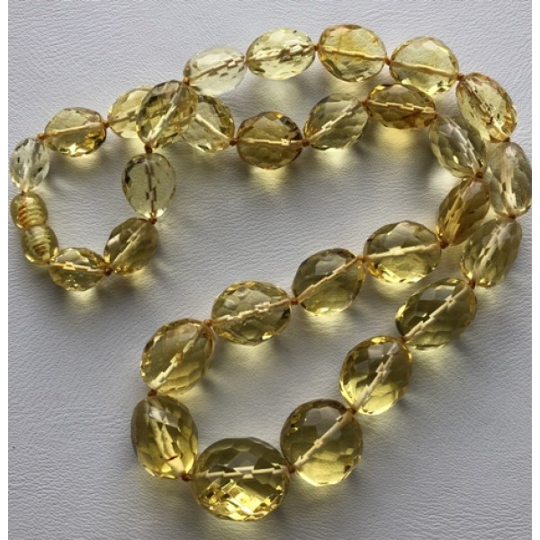 Amber necklaces | Big beads faceted amber necklace