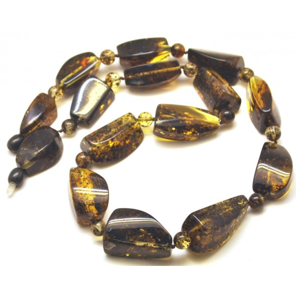 Amber necklaces | Green color amber beads necklace