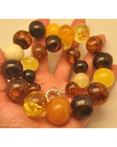 Massive multicolor baroque beads Baltic amber necklace 132 g.