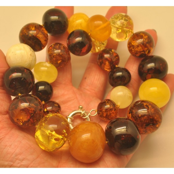 Amber necklaces | Massive multicolor baroque beads Baltic amber necklace 132 g.