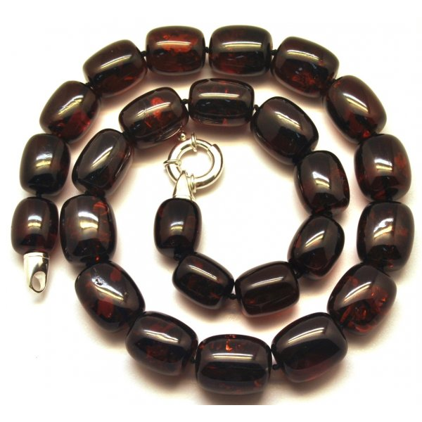 Barrel shape cherry Baltic amber necklace 65 g .-AN1936