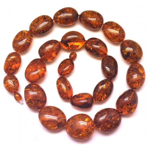 Cognac color amber beads necklace 100g-AN2048