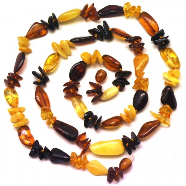 Long multicolor bean shape Baltic amber necklace-AN1975