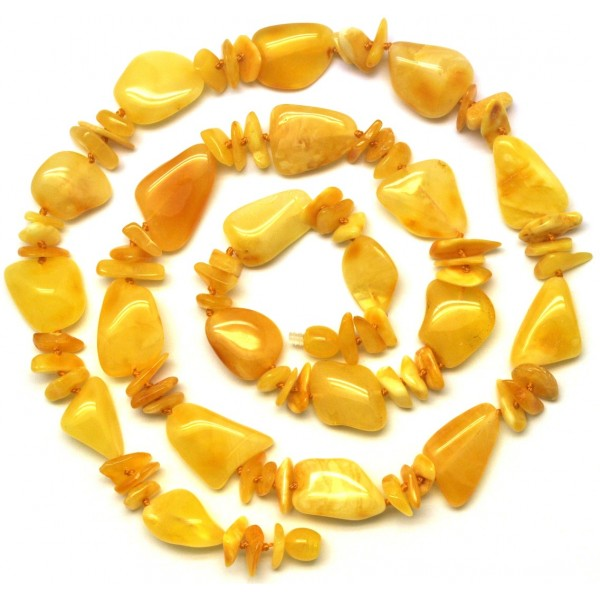 Long yellow beans shape Baltic amber necklace-AN1980