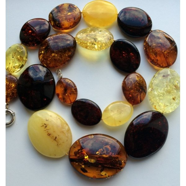 Massive long amber necklace 201 g-AN2039