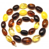 Multicolor olive shape Baltic amber necklace